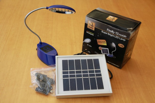 Off-grid solar and cell-phone charging kit.