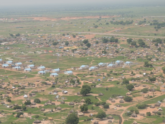 Homes built in Juba, South Sudan showing the lack of infrastructure associated with these new units.