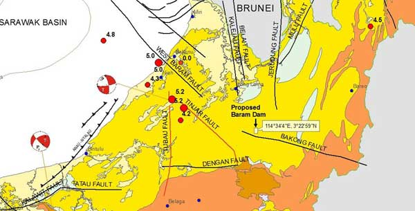 Earthquake fault map of Borneo showing mega-dam sites